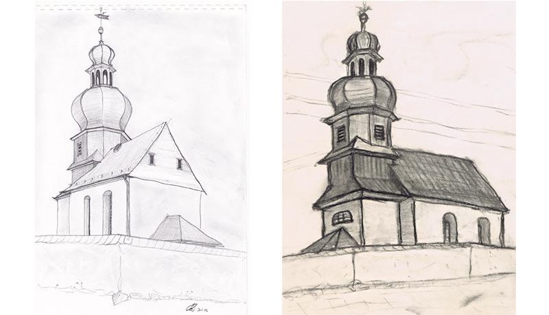 Skizze Kirche Burglemnitz Architektur Und Sonstige Studienzeichnungen